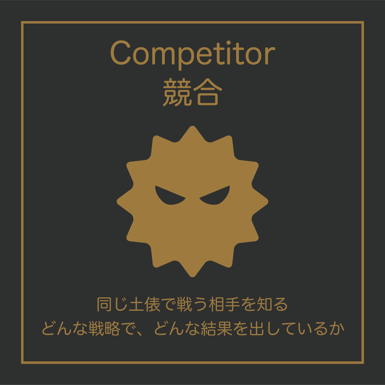 Competitor(競合)については、同じ土俵で闘う相手を知る、どんな戦略で、どんな結果を出してるのかを調べてみましょう。