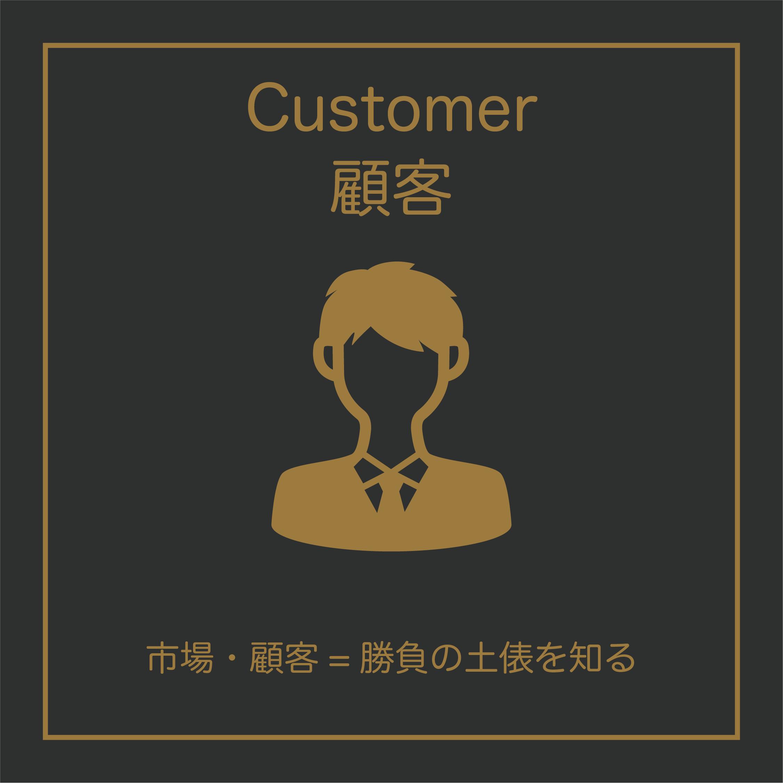 Customer(顧客)は、勝負の土俵を知るために、市場や顧客について調べてみましょう。