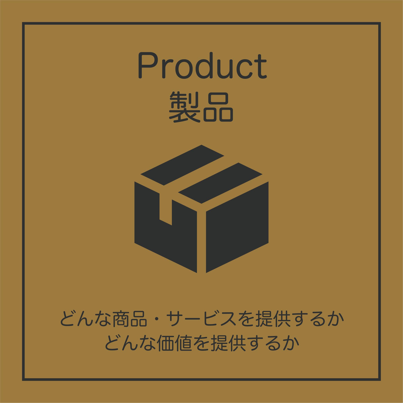 Product(製品):どんな商品・サービスを提供するか、どんな価値を提供するか